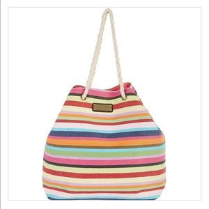 Caribbean Joe Multi Stripes Beach Bag Tote